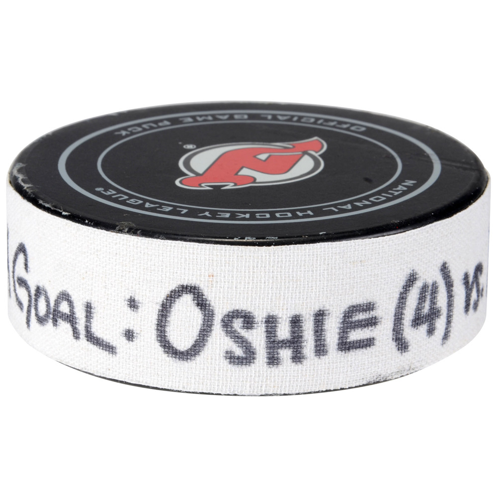 T.J. Oshie Washington Capitals Game-Used Goal Puck from October 13, 2017 vs. New Jersey Devils - First Goal of Two Goals Scored