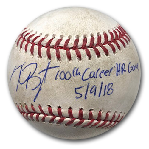 Photo of Game-Used and Autographed Baseball -- Used During Kris Bryant's 100th Career Home Run Game -- Fastest Player in Cubs History to 100 Career HRs -- Marlins vs. Cubs -- 5/9/18