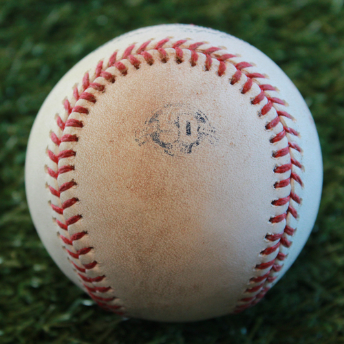 Photo of Game-Used Baseball: Chris Gimenez 43rd Career Double and Jorge Polanco 865th Career Hit (MIN @ KC - 9/13/18)