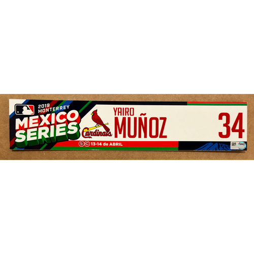 Photo of 2019 Mexico Series - Game Used Locker Tag -Yairo Munoz -  St. Louis Cardinals