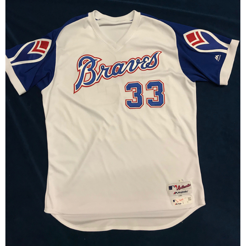AJ Minter (Team-Issued or Game-Used) 2019 Atlanta Braves Hank Aaron Weekend 1974 Throwback Jersey