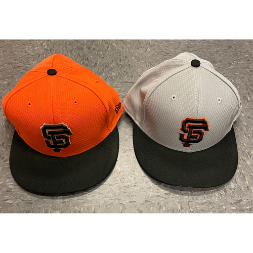 Photo of 2019 Holiday Sale - 2019 Team Issued Batting Practice Cap Set - Orange BP Cap Issued to #74 Jandel Gustave & Team Issued Gray BP Cap - Size 7 3/4