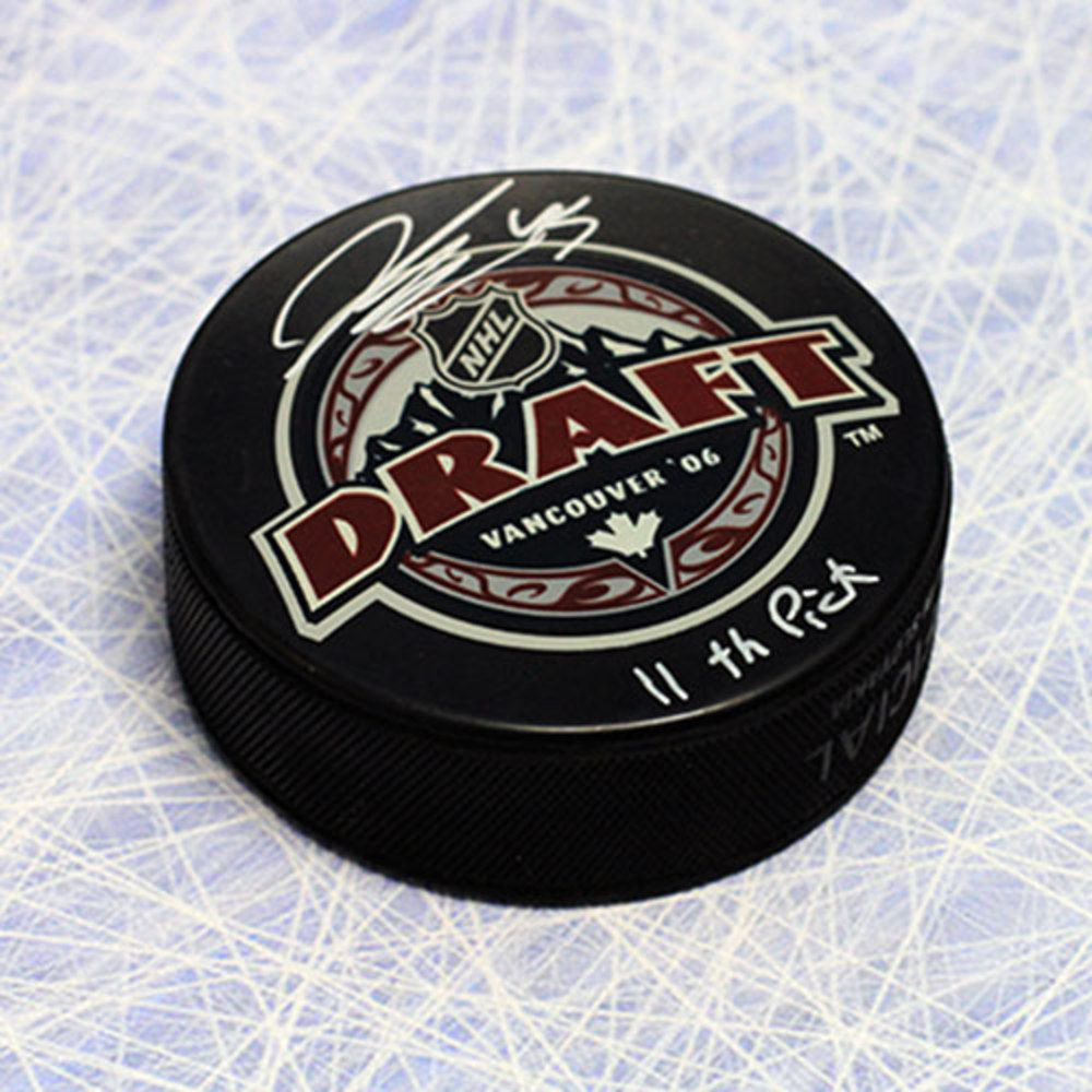Jonathan Bernier 2006 NHL Draft Day Autographed Puck with 11th Pick Inscription *Detroit Red Wings*