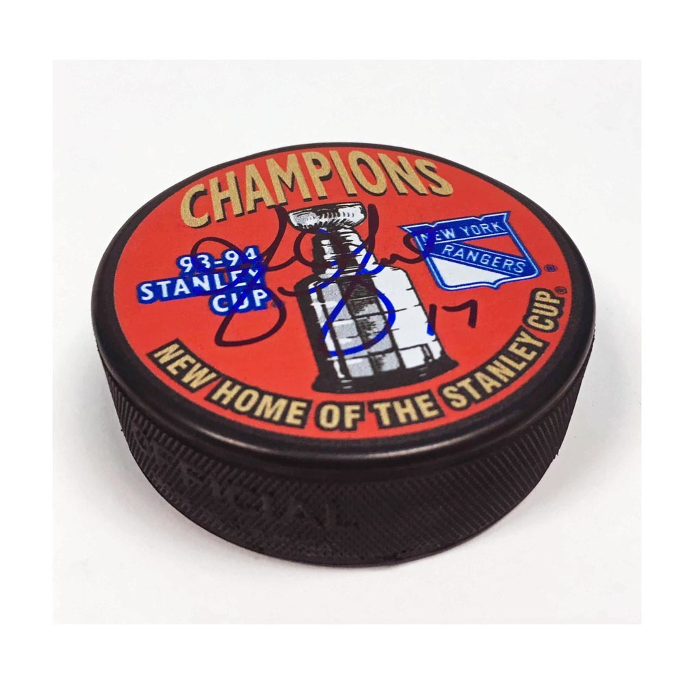 Greg Gilbert New York Rangers Autographed 1994 Stanley Cup Puck