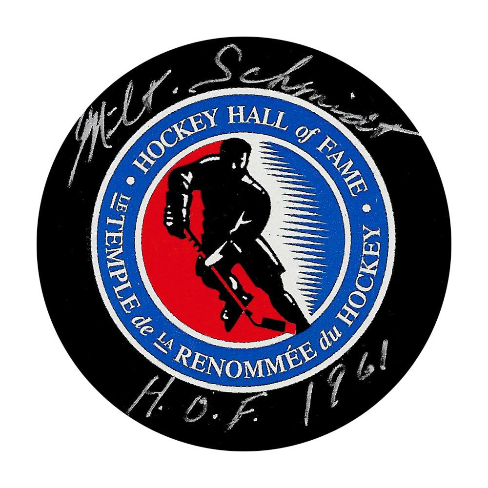 Milt Schmidt Autographed Hockey Hall of Fame Puck w/HOF Inscription