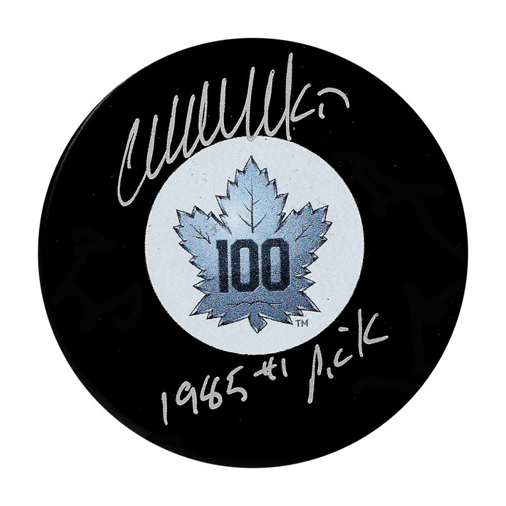 Wendel Clark Autographed Toronto Maple Leafs 100th Anniversary Puck w/1985 #1 PICK Inscription