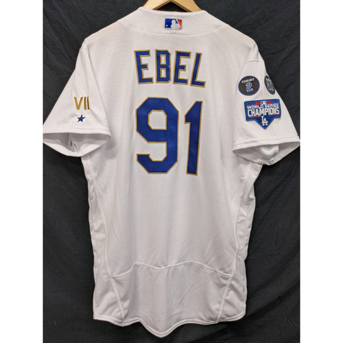 Photo of Dino Ebel Game-Used Gold Trim Re-Opening Day Jersey - 6/15/21