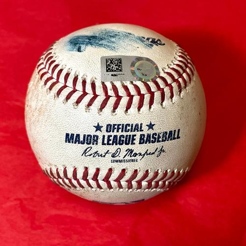 Photo of Game-Used Baseball - Kris Bryant Single vs. Taylor Widener - Giants @ D-backs 8/2/2021