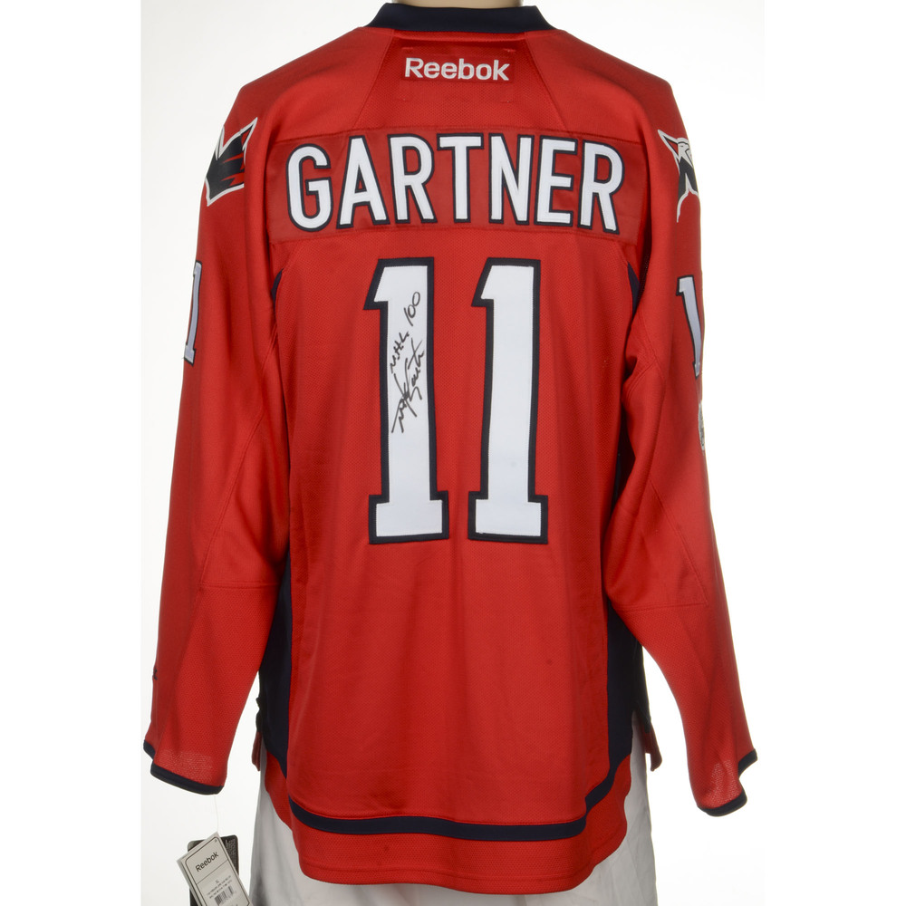 Mike Gartner Washington Capitals Autographed Reebok Premier Jersey with Centennial  Patch and NHL 100 Inscription. Auctioned by the National Hockey League ... b0153432d