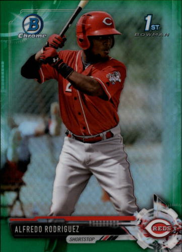 Photo of 2017 Bowman Chrome Prospects Green Refractors #BCP94 Alfredo Rodriguez RC /99