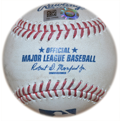 Photo of Game Used Baseball - Mets Tie Franchise Record with 11 Consecutive Wins - Jeurys Familia to Jace Peterson - 9th Inning - Mets vs. Braves - 4/23/15