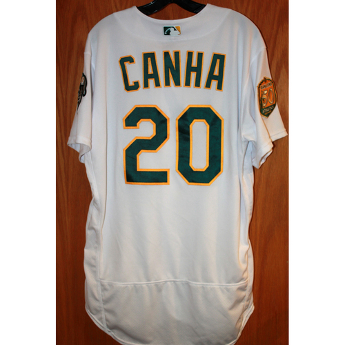 Photo of Mark Canha Game-Used Jersey (Sean Manaea's No-Hitter Game vs BOS 4/21/18)