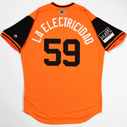 "Photo of Jhan ""La Electricidad"" Marinez Baltimore Orioles Team-Issued 2018 Players' Weekend Jersey"