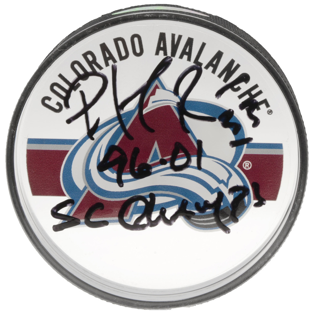 Patrick Roy Colorado Avalanche Autographed Acrylic Hockey Puck with 96 01 SC Champs Inscription - Upper Deck