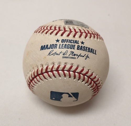 Photo of Authenticated Game Used Baseball - Brian McCann Foul Ball against Ryan Borucki (June 26, 2018 vs HOU). Bottom 4. MLB Debut for Ryan Borucki.