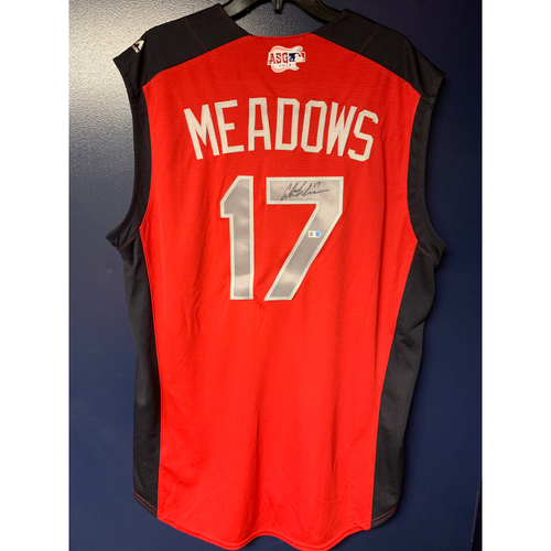 Photo of Austin Meadows 2019 Major League Baseball Workout Day Autographed Jersey