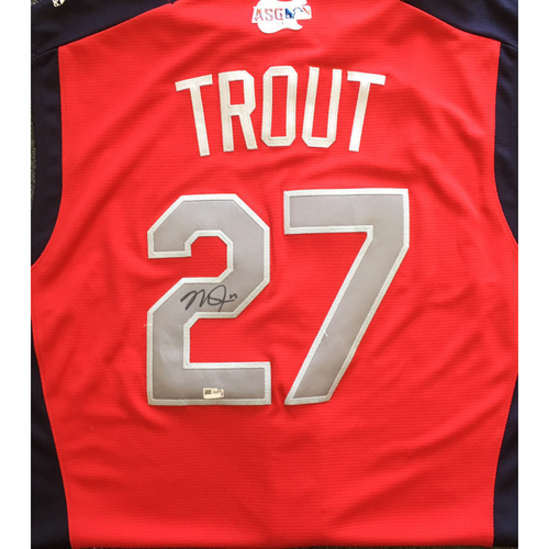 Photo of Mike Trout Autographed 2019 All Star Game Workout Jersey