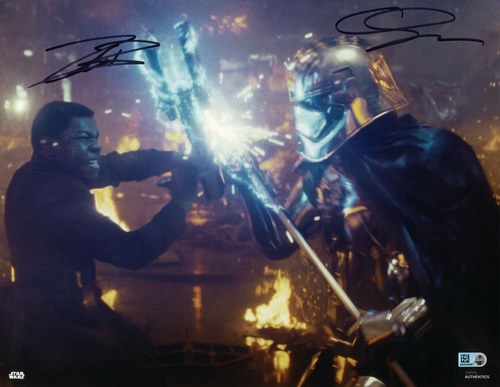 Gwendoline Christie and John Boyega As Captain Phasma and Finn 11X14 AUTOGRAPHED IN 'Black' INK PHOTO