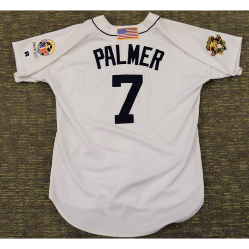 Photo of Dean Palmer Detroit Tigers #7 Home Jersey with 100th Season American League Charter Member Patch and Detroit 300 Patch (NOT MLB AUTHENTICATED)