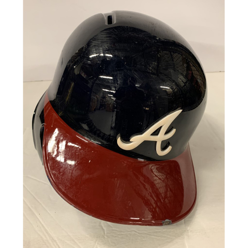 Photo of Ozzie Albies Game Used Postseason Helmet - Worn 10/3/19