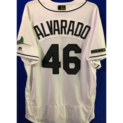Photo of Game Used and Autographed Home White Memorial Day Jersey: Jose Alvarado - May 27, 2018 v BAL