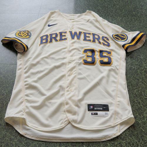 Photo of Brent Suter Game Used Jersey Opening Day 2020 - 8/3/2020