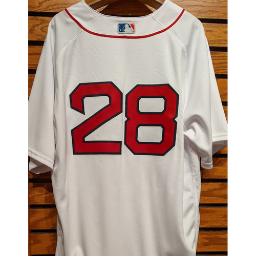 Photo of J.D. Martinez #28 Team Issued Home White Jersey