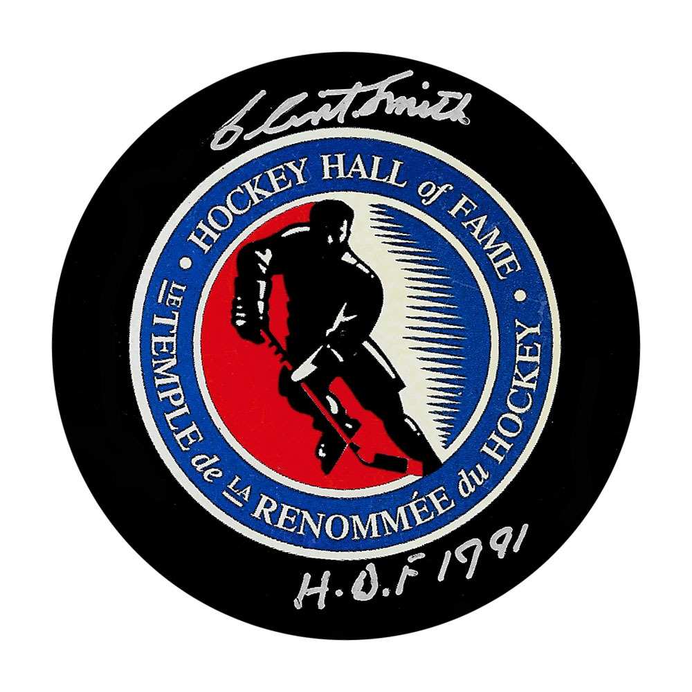 Clint Smith Autographed Hockey Hall of Fame Puck w/HOF Inscription