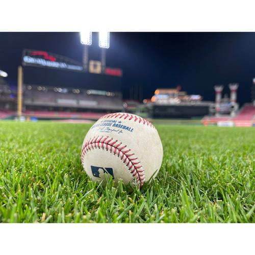 Photo of Game-Used Baseball -- Shane Greene to Kyle Farmer (Foul) -- Bottom 7 -- Braves vs. Reds on 6/26/21 -- $5 Shipping