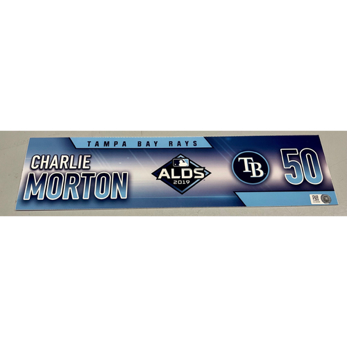 Photo of Game Used ALDS Locker Tag: Charlie Morton - 3 Games - October 4, 5, 10, 2019 at HOU