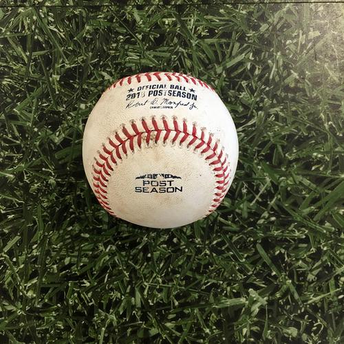 Photo of Game-Used Baseball NLCS Game 7 LAD@MIL 10/20/18 - Walker Buehler - Domingo Santana: Strike
