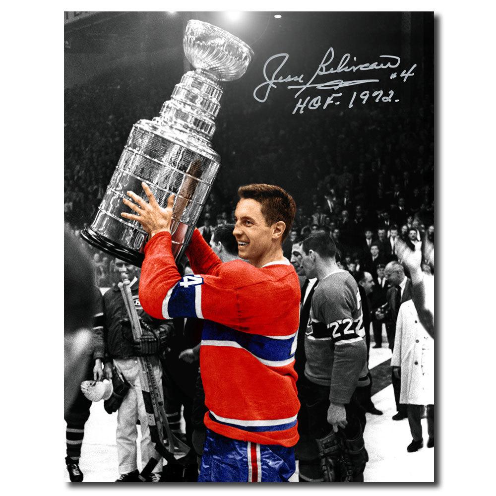 Jean Beliveau Montreal Canadiens Stanley Cup Autographed 11x14