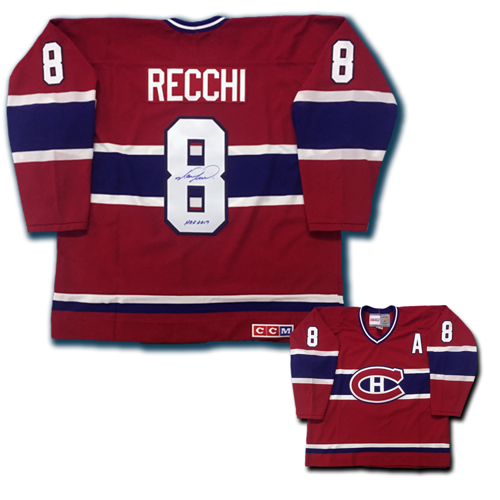 MARK RECCHI Signed Montreal Canadiens Red CCM Jersey W/HOF inscription