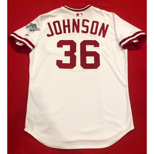 Photo of Derek Johnson -- Team Issued 1990 Throwback Jersey -- Cardinals vs. Reds on Aug. 18, 2019 -- Jersey Size 48