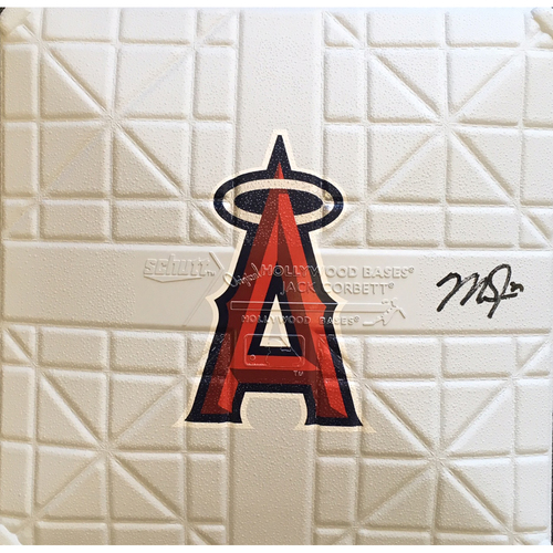 Photo of Mike Trout Autographed Full Size Angels Logo Base
