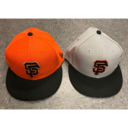 Photo of 2019 Holiday Sale - 2019 Team Issued Batting Practice Cap Set - Orange BP Cap Issued to #14 Cristhian Adames & Team Issued Gray BP Cap - Size 7 1/8