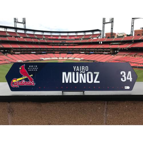 Photo of Cardinals Authentics: Yairo Munoz Team Issued NLDS Locker Nameplate