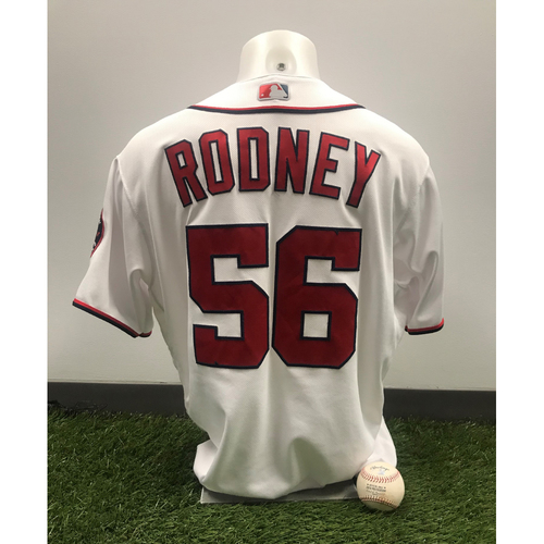 Photo of Fernando Rodney Game-Used Jersey and Strikeout Baseball - October 6, 2019