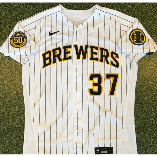 Photo of Adrian Houser 2020 Team-Issued Home Pinstripe Jersey