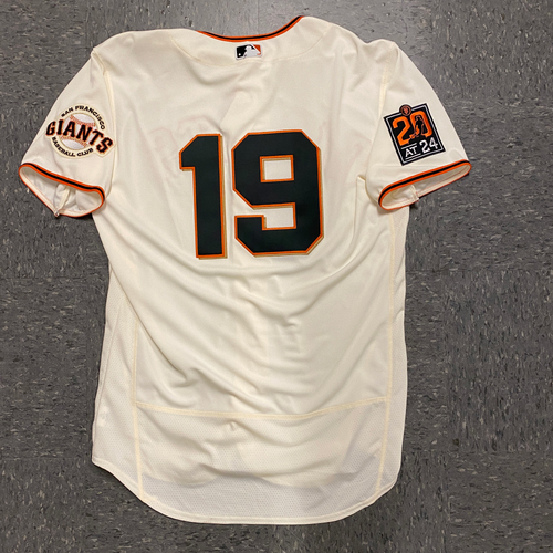 Photo of 2020 Game Used Home Opening Day Jersey worn by #19 Gabe Kapler on 7/28 vs. SD - First Giants Home Game as San Francisco Giants Manager - Size 46