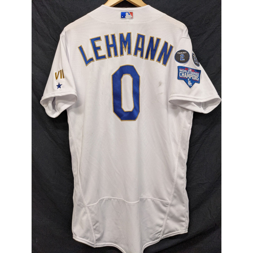 Photo of Danny Lehmann Team-Issued Gold Trim Re-Opening Day Jersey - 6/15/21