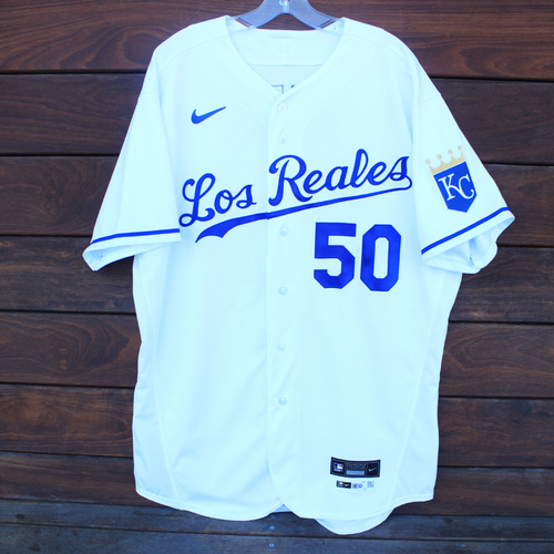 Photo of Game-Used Los Reales Jersey: Kris Bubic #50 (SEA@KC 9/17/21) - Size 48