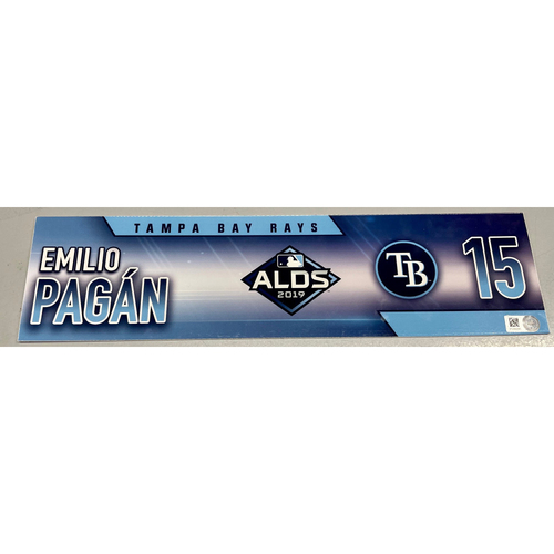 Photo of Game Used ALDS Locker Tag: Emilio Pagan - 2 Games - October 4, 10, 2019 at HOU