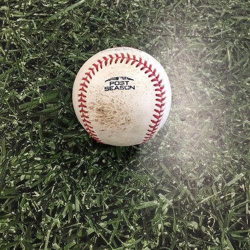 Photo of Game-Used Baseball NLCS Game 7 LAD@MIL 10/20/18 - Brandon Woodruff - Chris Taylor (Double); Austin Barnes (Groundout)