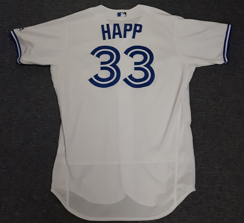 Photo of Authenticated Team Issued Jersey - #33 J.A. Happ (2017 Season). Size 48.