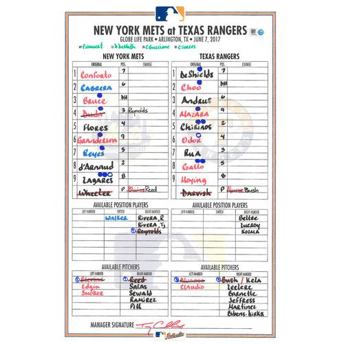Game Used Lineup Card - Wheeler vs. Darvish - Wheeler 7 IP, 5 K's; Bruce Hits 2 HR's, Mets Win 4-3 - Mets vs. Rangers - 6/7/17