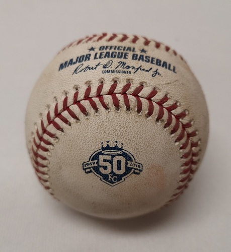 Photo of Authenticated Game Used Baseball - Lucas Duda Ball against Sean Reid-Foley (August 13, 2018 vs KC). Bottom 2. MLB Debut for Sean Reid-Foley and Danny Jansen.