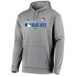 Toronto Blue Jays Authentic Collection Players Hoodie Grey by Majestic
