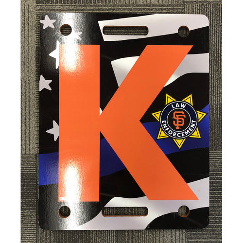 Photo of 2019 Law Enforcement Appreciation Night K Board Used on 7/18/19 vs. New York Mets -  T-3: Madison Bumgarner Strikes Out Noah Syndergaard