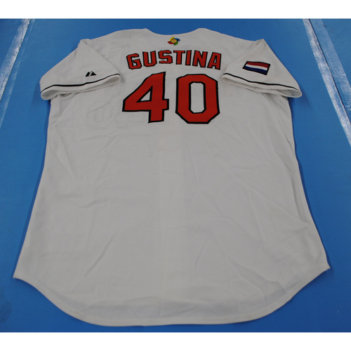 Photo of 2006 Inaugural World Baseball Classic: Gregory Gustina Game-worn Team Netherlands Home Jersey